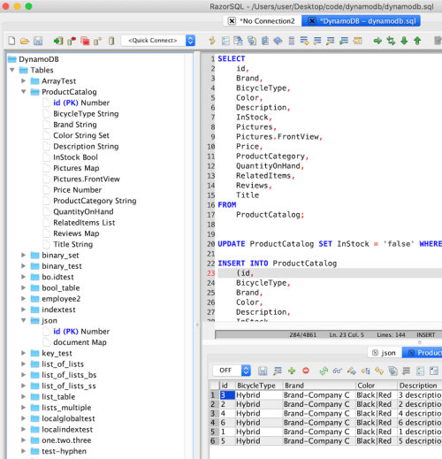 RazorSQL DynamoDB SQL GUI Tool for Mac
