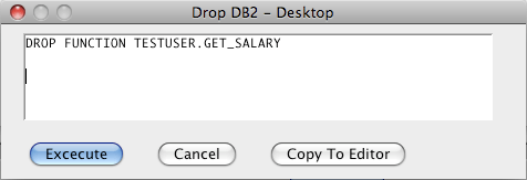 DB2 Drop Function