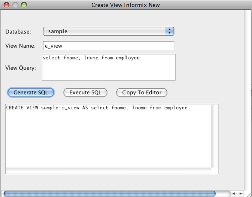 Informix Create View