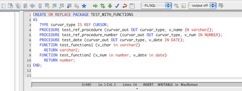 Oracle PL/SQL Package Editor