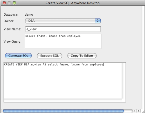 SQL Anywhere Create View