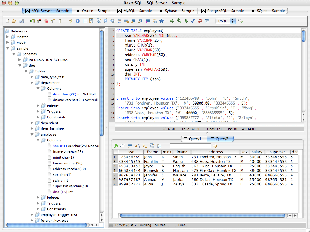 SQL database query tool, browser, and editor.