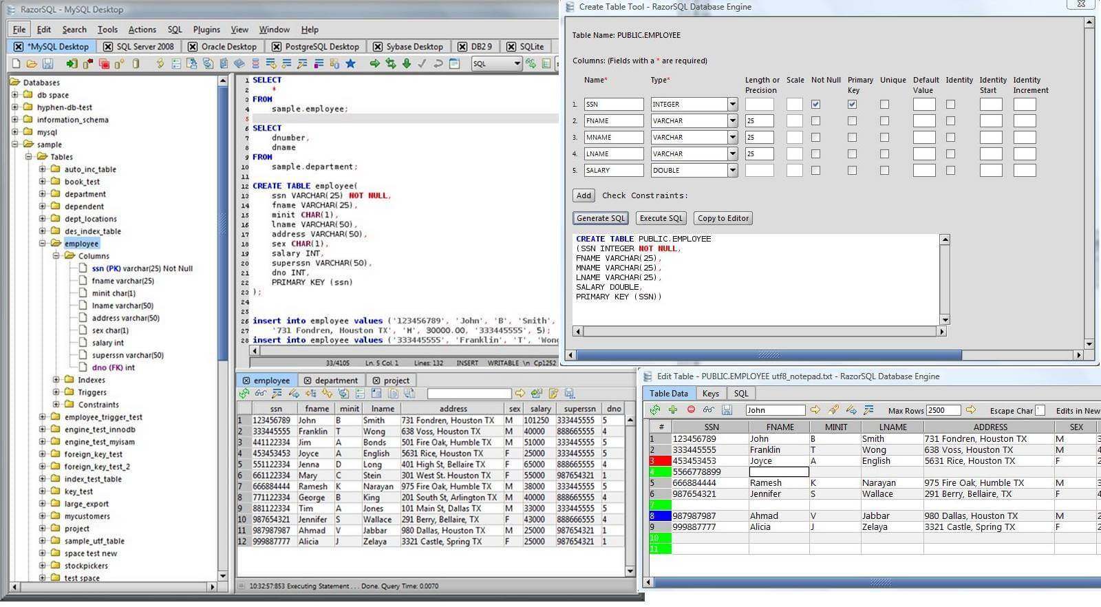 Portable RazorSQL full screenshot